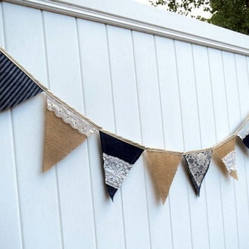 Rustic Wedding Banner Burlap Bunting Denim and Lace Photo Prop Cowgirl Wedding Decor