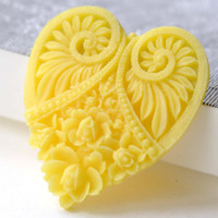 Yellow Resin Heart Flower Cameo Cabochon 44x50mm Set of 10 A8124