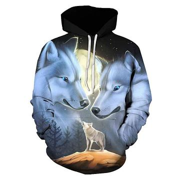 Hot Sale Brand Wolf Printed Hoodies Men 3D Sweatshirt Quality Plus size Pullover Novelty 3XL Streetwear Male Hooded Jacket