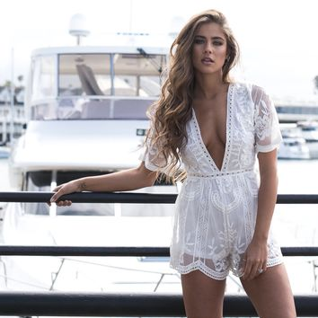 Popping Chic & Lace Romper in White