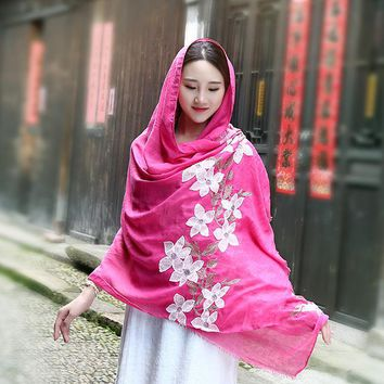 New Autumn Winter Chinese Vintage Style Cotton Linen Scarf Embroidered Flower Women Autumn Art Dual-purpose Scarf Lady 90*180CM