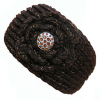 Rhinestone Decoration Flower Knitted Metallic Headband