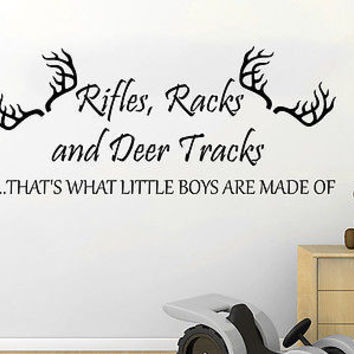 Wall Decal Quote Rifles Racks and Deer Tracks THAT'S WHAT LITTLE BOYS ARE C522