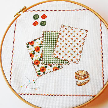 Cross-stitch Wall picture . Ideal for Sewing Room Wallhanging