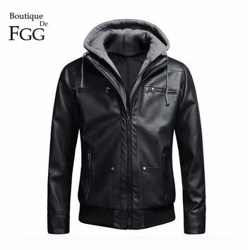 Size 4XL Detachable Hooded Men Faux Leather Jacket Black Biker Coat Motorcycle Mens PU Leather Jackets Coats Slim Jaqueta Couro