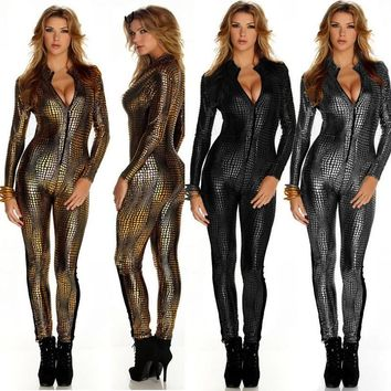 Snakeskin PU Leather Pole Dancing High Waisted Trousers Zentai Jumpsuits Nightclubs Girl Dancer DS Teddies Bodysuits Stage Wear