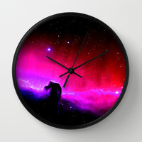 Horsehead Nebula Hot Pinks & Black Wall Clock by 2sweet4words Designs | Society6