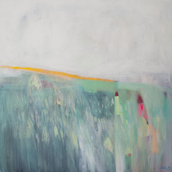GREEN ABSTRACT painting, Giclee, Fine Art Print, yellow, pink, modern painting, landscape