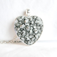 Resin Pebble Heart Necklace Resin Heart Pendant Grey Silver Resin Heart
