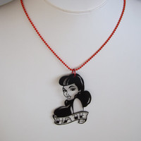 Quirky Vintage Black  Hate Necklace *
