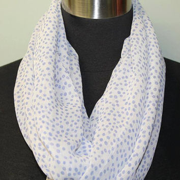White with Blue Grey Speckles Infinity Scarf
