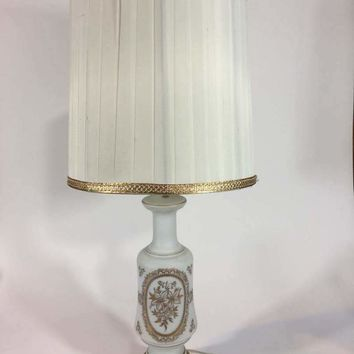Vintage French Porcelain Table Lamp Hand Painted Gold Trim