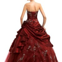 Faironly M37 Strapless Burgundy Prom Dress stock , Size|S