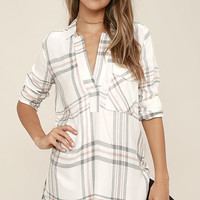 Chic Thrills Ivory Plaid Tunic Top
