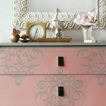 Furniture &Wall Stencil Small Ribbon Damask Stencil  Featured in Martha Stewart Living