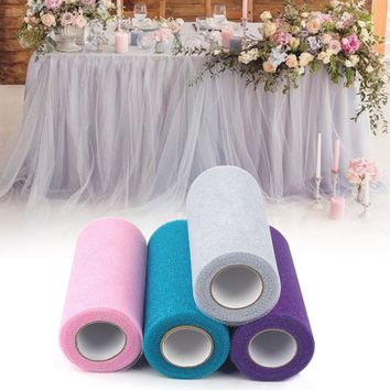 Ourwarm 25Yards Wedding Tulle Rolls Glitter Shimmering Tulle Roll DIY Craft Wedding Decoration Event Party Supplies Home Decor