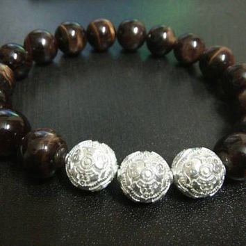 Brown Tiger Eye Men's Luxury Bracelet