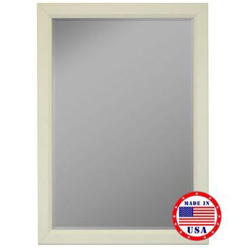 Hitchcock Butterfield White Satin Profile Edge Framed Wall Mirror