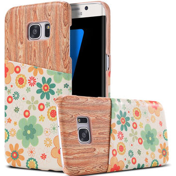 S7/S7 Edge Colorful Art Print Wood Case For Samsung Galaxy S7 G9300/ S7 Edge G9350 Slim Leather Flower Back Cover With Card Slot