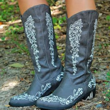 Forever and Always Boots are beautiful! They are Grey vegan leather and feature beautiful embroidered lace detail.