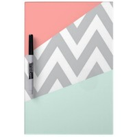 Coral & Mint Color Block Chevron Dry-Erase Boards from Zazzle.com