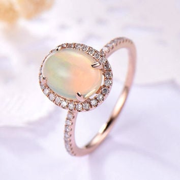 opal engagement ring rose gold 14k/18k Halo stacking pave band or in 925 sterling silver with Man made CZ diamond classic delicate design