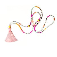 Long Tassel Necklace, Boho Beaded Necklace, Hippie Summer Necklace, Multicolor Necklace, Pink Tassel