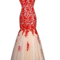 Queensroyal Pageant Mermaid Lace Red Tulle Evening Dress Wedding Dress