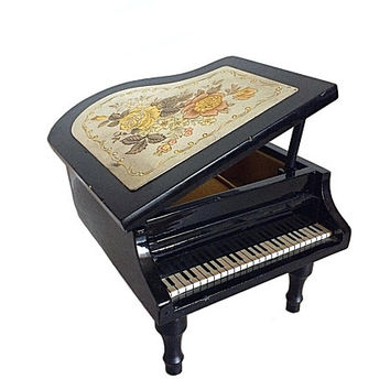 Linden Grand Piano, Japan Music Box, Linden Wood Piano, Piano Jewelry Box, Vintage Music Box, Linden Vintage, Amazing Grace, Music Jewelry