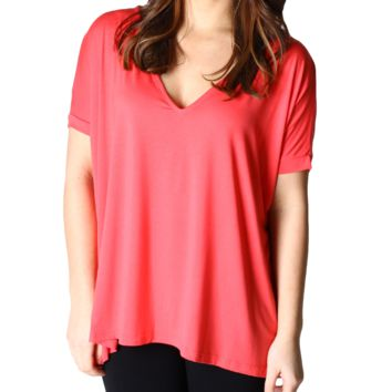 Bright Coral Piko 1988 V-Neck Short Sleeve Top