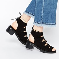 Missguided Lace Up Block Heel Shoes