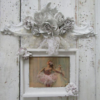 White wood textured header wall decoration embellished handmade dipped flowers French Nordic shabby distressed home decor anita spero design