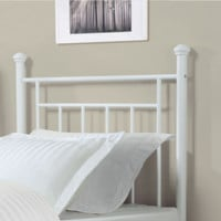 Contemporary Twin Metal Headboard Stylish Bedroom Furniture Antique White Finish