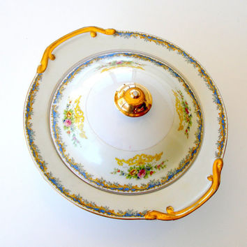 Vintage Kikusui China Covered Serving Bowl KIK13 Round Floral Serving Dish Gold Trim