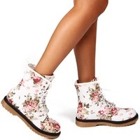 White Floral Combat Boots