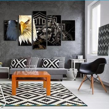 *5 Piece Canvas Art Eagle Motorcycle Painting Living Room Modern Home Decoration Canvas Prints Wall Art Picture