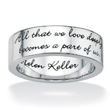 Amazon.com: PalmBeach Jewelry Stainless Steel Enamel-Finish Inspirational Helen Keller Message Band Ring: Jewelry