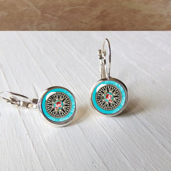 Blue Compass Rose Navigation Nautical Pretty Gift Leverback Earrings Pendant Setting