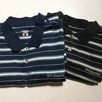 Mens Columbia Shirts XL Polo Rugby Lot of 2 100% Cotton Short Sleeve Striped