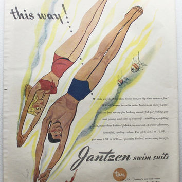 Vintage 1945 Jantzens Swim Suits Pin Up Girl Fish Men Women Print Ad Advertising Wall Art Decor