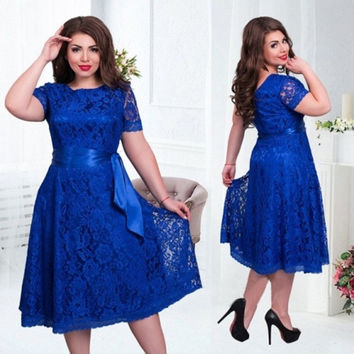 2016 European Style Autumn Vintage Women Sexy Elegant Dress Fit and Flare Empire Mid-calf Lace Sashes Party Dresses Plus Size