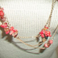 eBlueJay: Orange Coral Kenneth Cole Necklace Triple Strand Gold Tone Costume Jewelry