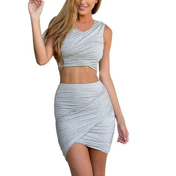 Women Crop Top and  short skirt 2 piece outfit