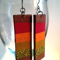 Large Striped Hanji Paper Earrings OOAK Patchwork Maroon Brown Orange Yellow Swastika Sunset Handmade Hypoallergenic hooks Lightweight