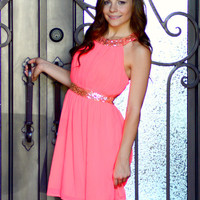 ALL THAT GLITTERS NEON CORAL CHIFFON DRESS