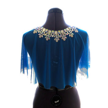Sheer Royal Blue Formal Rhinestone Shawl, Blue Rhinestone Formal Cape, Blue Rhinestone Shrug, Blue Formal Jeweled Wrap