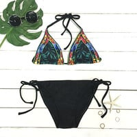 Cupshe Tropical Rainforest Halter Bikini Set