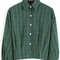 Green Lapel Preppy Appropriately Checks Plaid Buttons Crop Blouse -SheIn(Sheinside)