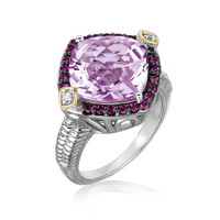18K Yellow Gold and Sterling Silver Pink Amethyst, Rhodolite and Diamond Ring: Size 6