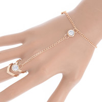 Fashion Glitter Rhinestone Hand Bracelet Slave Chain Link Finger Ring Gold New